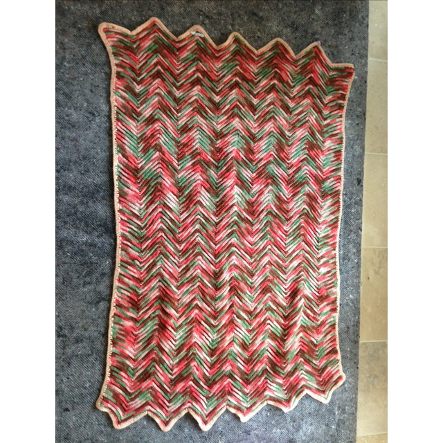 Hand Knitted Zig Zag Wool Throw - Image 2 of 5