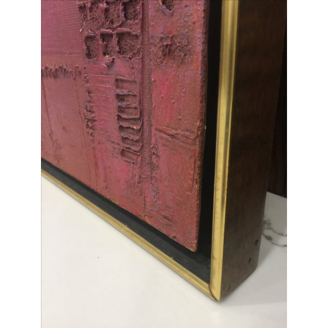 Pink & Red Brutalist Abstract Mid Century Painting - Image 6 of 6