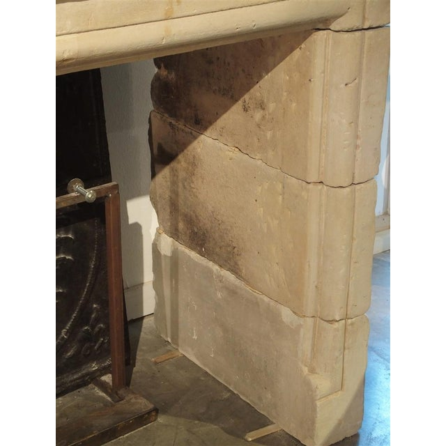 Stone Early 1800s Carved Limestone Trumeau Fireplace Mantel from Loire Valley, France For Sale - Image 7 of 11