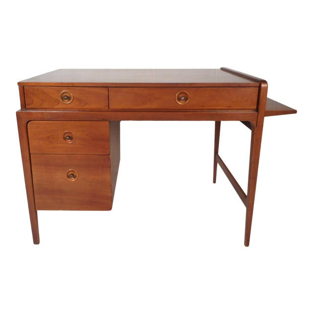Mid-Century Modern Desk With Side Extension For Sale