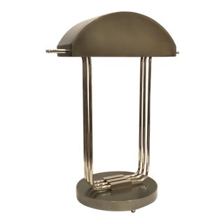 Global Views Modern Art Deco Style Silver Metal Table Lamp For Sale