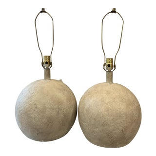 1980s Plaster Ball Round Lamps - a Pair For Sale