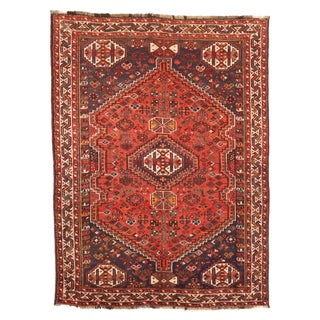 Antique Persian Shiraz Rug With Red & White Geometric Details on Black Field For Sale