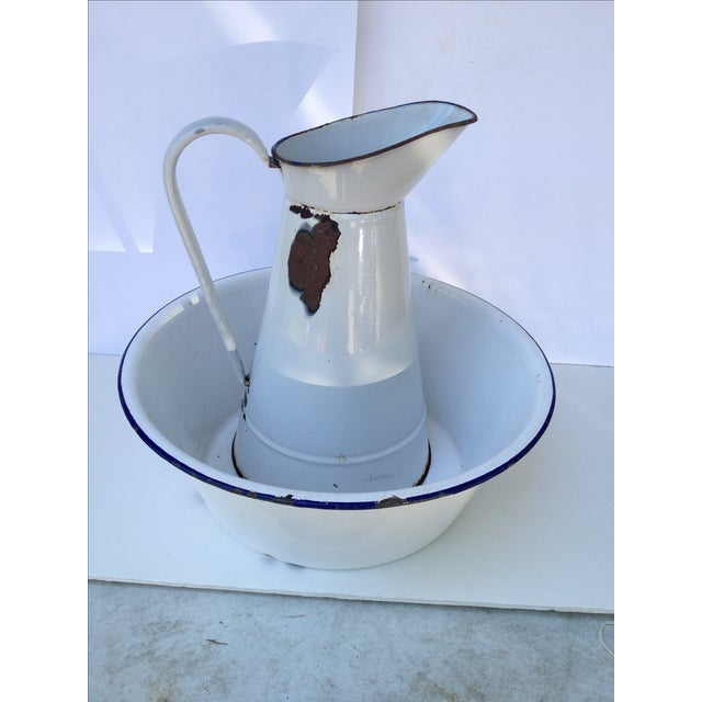 French Country French Enamel Pitcher & Bowl Set For Sale - Image 3 of 7