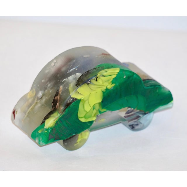 Glass Contemporary Recycled Blue, Green, Yellow Murano Glass Decorative Car Sculpture For Sale - Image 7 of 11