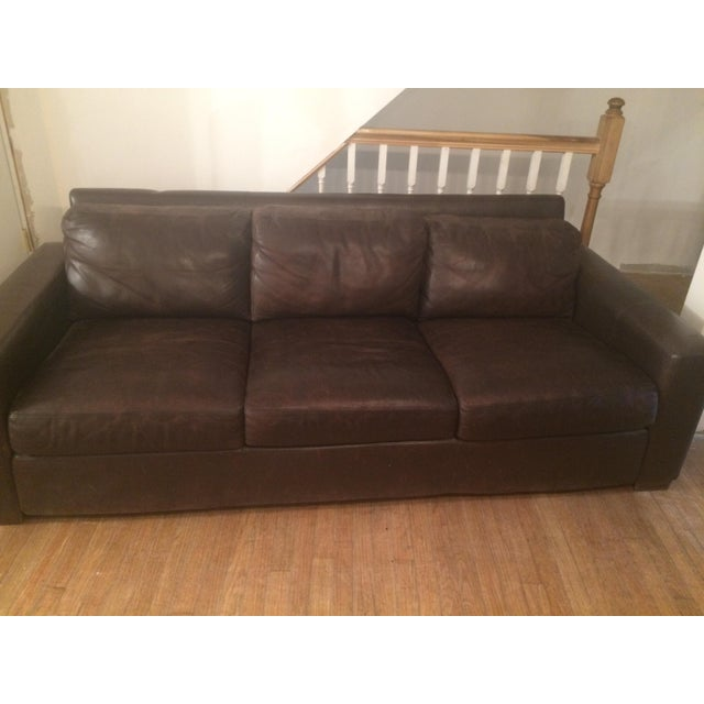 Contemporary Design Within Reach Portola Leather Sofa For Sale - Image 3 of 5