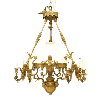 French Victorian Bronze Nine-Light Converted Gas Chandelier For Sale