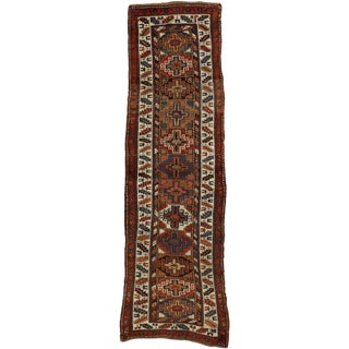 Early 20th Century Antique Persian Kurdish Rug - 3′2″ × 10′7″ For Sale