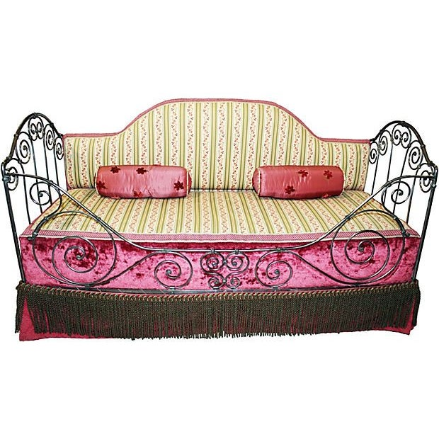 Antique, French folding daybed circa 1880. Done in a wrought iron with a sandblasted, ground & polished pewter finish. It...