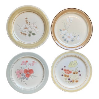 1970s Mismatched Floral Stoneware Dinner Plates - Set of 4 For Sale