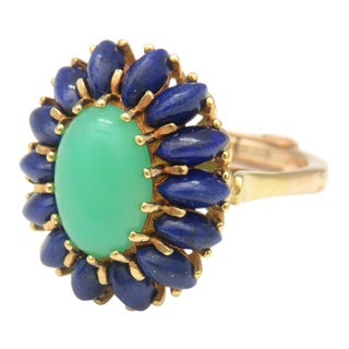 Chryoprase & Lapis Cocktail Ring For Sale