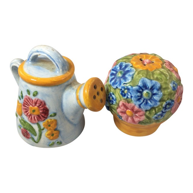 Miniature Watering Can & Flowers Salt & Pepper Shakers - a Pair For Sale