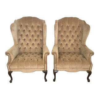 Chesterfield-Style Camel Velvet Wingback Chairs - a Pair