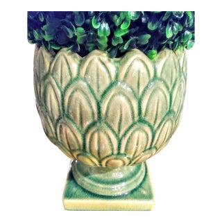 Artichoke Stoneware Pale Sage Green Planter Vase For Sale