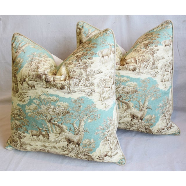"Aqua Woodland Toile Deer & Velvet Feather/Down Pillows 25"" Square - Pair For Sale - Image 8 of 13"