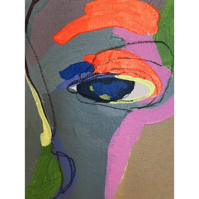 """2010s Contemporary Abstract Portrait Painting """"What Are You Doing Tonight"""" - Framed For Sale - Image 5 of 9"""