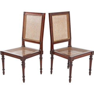 18th Century Italian Fruitwood Louis XVI Side Chairs - a Pair For Sale