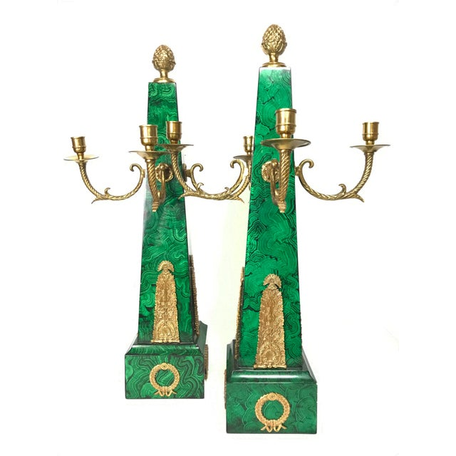 Maitland Smith Faux Malachite and Brass Finish Obelisk Candelabras - a Pair For Sale - Image 11 of 11