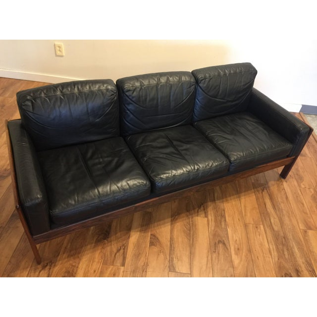 Komfort Mid Century Rosewood & Leather Sofa For Sale - Image 5 of 11