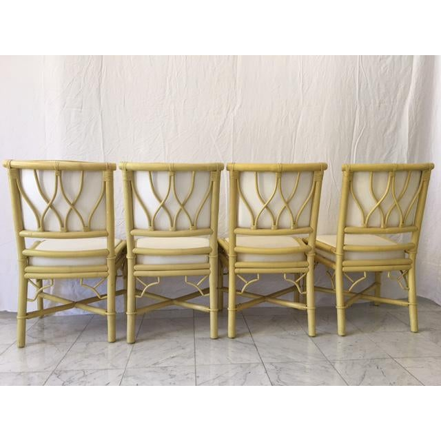 Vintage Daffodil Yellow Rattan Dining Chairs - Set of 6 - Image 8 of 11