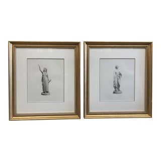 1940s Etchings of Judith and Our Lady Comus in Gold Leaf Frames - a Pair For Sale