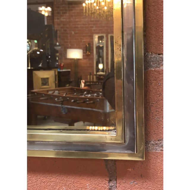 Italian Brass and Chrome Wall Mirror Attributed to Willy Rizzo, 1970s For Sale In Los Angeles - Image 6 of 8
