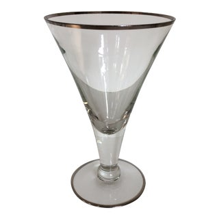 Set of 7 Crystal Mid-Century Modern Dorothy Thorpe Crystal Platinum Rim Cocktail Glasses - Set of 7