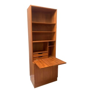 Danish Modern Teak Hundevad Wall Unit Desk Bookcase For Sale