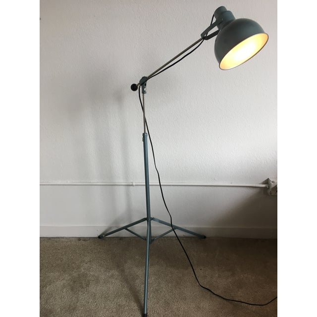 Features a wonderful shade of industrial blue, this highly adjustable Bretford tripod base floor lamp is adjustable...