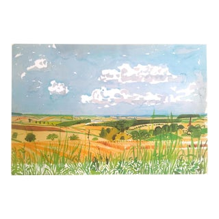 "David Hockney Fine Art Lithograph Print Midsummer : East Yorkshire Series "" Looking Toward Huggate Late Summer "" 2004 For Sale"