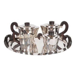 French Streamline Art Deco Silver-Plate and Macassar Coffee/Tea Service