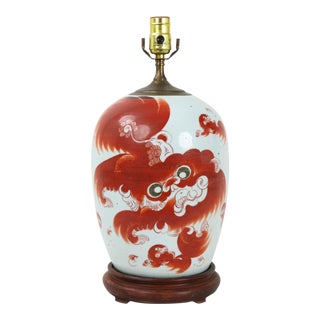 19th Century Chinese Ginger Vase Lamp Decorated With Fu Dogs and Poem For Sale