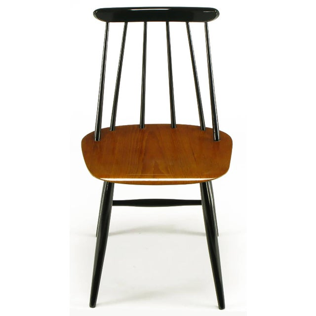 Mid-Century Modern Six Ilmari Tapiovaara Teak and Black Lacquer Dining Chairs For Sale - Image 3 of 9