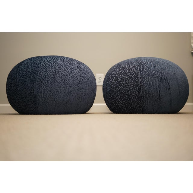 Really cool fun pair of pouf soufflé ottomans or footstools . They are by Vladimir Kagan for Directional but do not have...