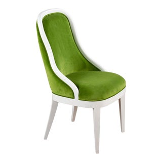 Frenchie Side Chair in Green Velvet For Sale