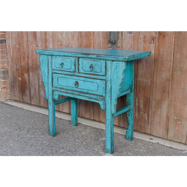 Bronze Beautiful Chinese Turquoise Altar Dresser For Sale - Image 7 of 9