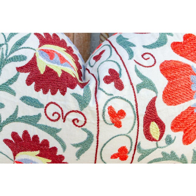 Nalin Coral Floral Suzani Pillow For Sale In Los Angeles - Image 6 of 10