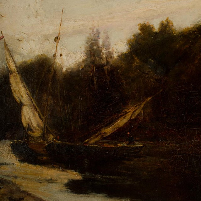 "Late 19th Century ""On the Canal"" Coastal Oil Painting For Sale - Image 11 of 13"