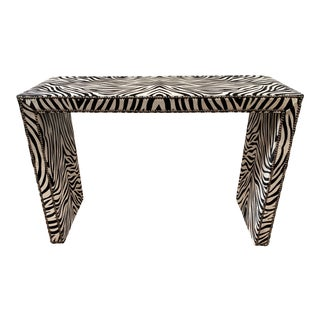 Century Furniture Transitional Zebra Print Console Table For Sale