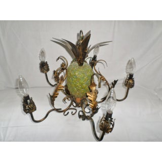 Mid Century Italian Tole Pineapple Chandelier Light Fixture 5 Arms Preview
