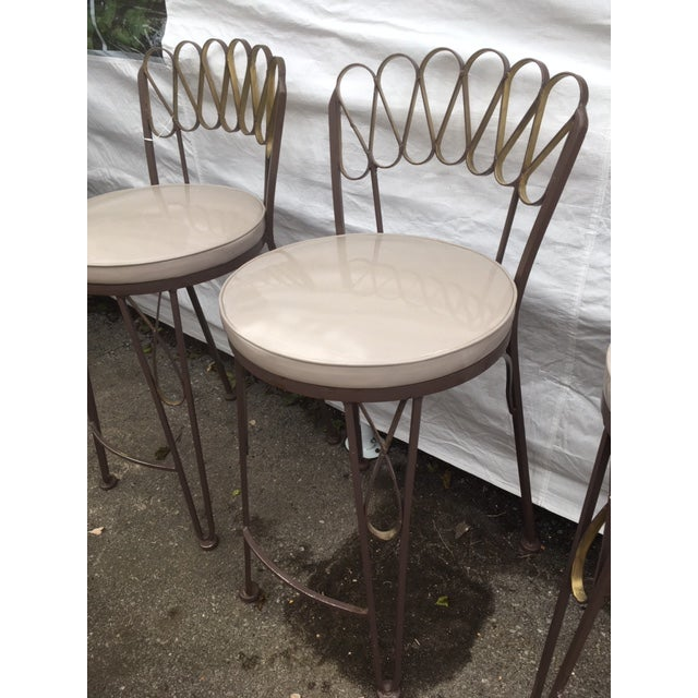 Arthur Umanoff Style Metal Bar Stools For Sale In New York - Image 6 of 10