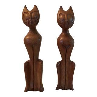 1960's Mid Century Modern Teak Cat Figurine - a Pair For Sale
