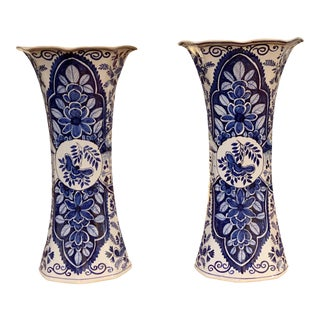 Delft Blue and White Vases - a Pair For Sale