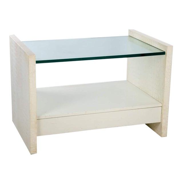 Karl Springer Albino Python Glass Top Side Table For Sale