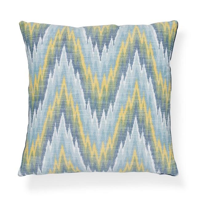"Textile Contemporary Schumacher Ibiza Flamestitch Pool Cotton Linen Pillow - 20ʺW × 20""H For Sale - Image 7 of 7"