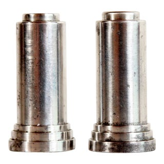 Vintage 1920s Art Deco Machined Aluminum Salt & Pepper Shakers - a Pair For Sale
