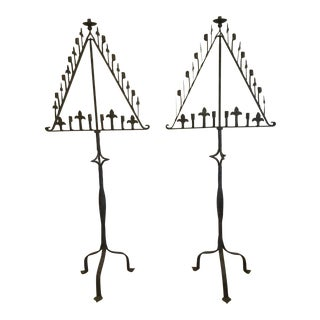 Iron Torchere 6' High Candelabra Lighting - Pair