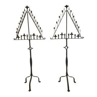 Medieval Iron Torchere Candelabra Lighting - a Pair