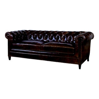 Century Furniture Sorenson Tufted Sofa, Coffee Leather For Sale
