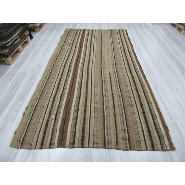 Modern Vintage Turkish Natural Striped kilim Rug- 5′6″ × 11′ For Sale - Image 3 of 6